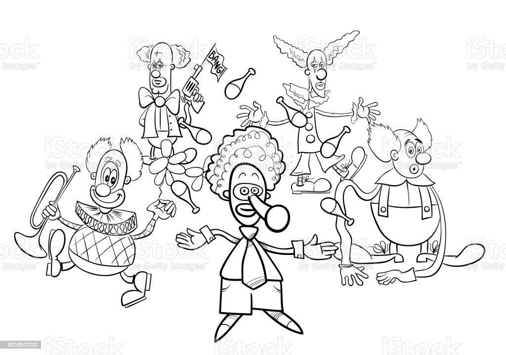 Clowns Cartoon Characters Group Coloring Book Stock Illustration - Download  Image Now - IStock