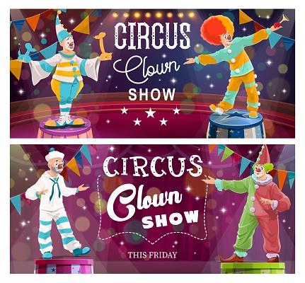 Clowns on Big Top Circus arena cartoon vector