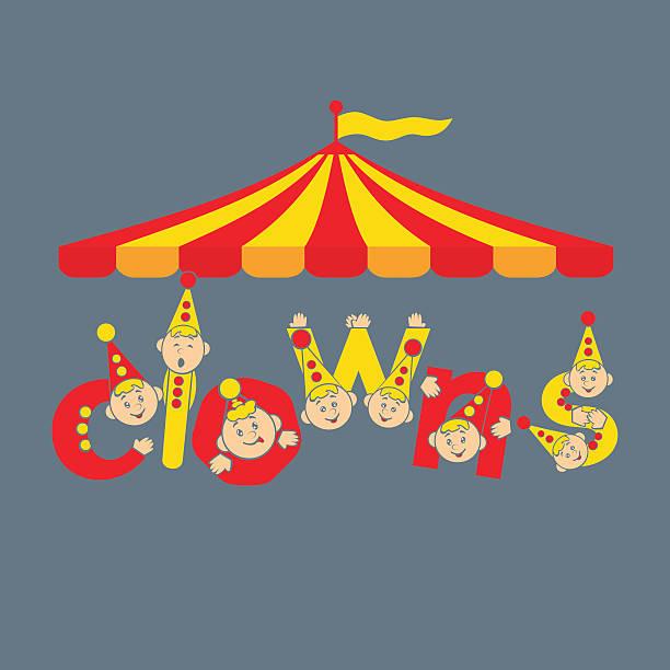 illustrazioni stock, clip art, cartoni animati e icone di tendenza di clowns. illustrazione vettoriale di sfondo. - funfair entrance