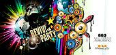 Club Disco Flyer template with Music Elements , Colorful Scalable backgrounds
