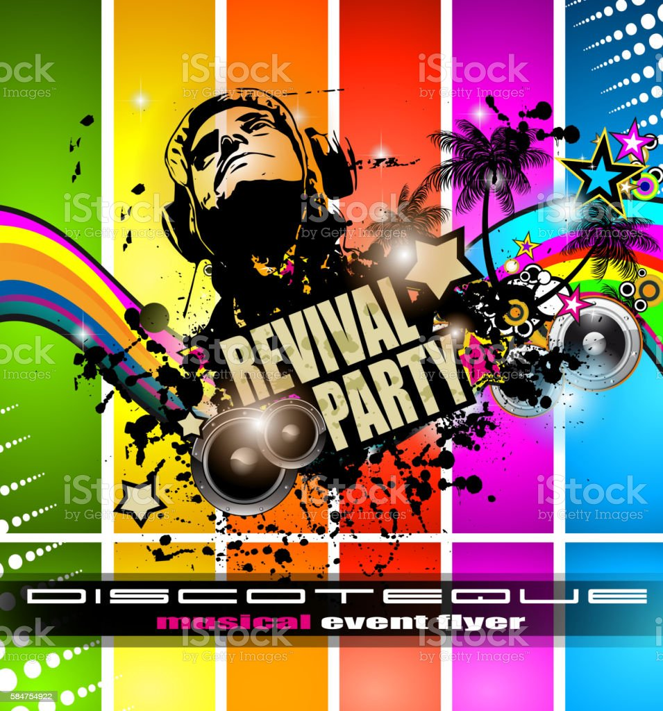 club disco flyer template with music elements djのベクターアート
