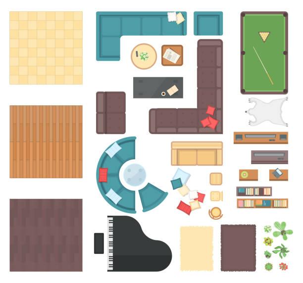 club-interieur-elemente - moderne vektorobjekte festlegen - teppichplatzierung stock-grafiken, -clipart, -cartoons und -symbole