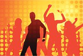 Vector dancing people silhouettes against a vibrant ornage background. Come dance the night away party time style!