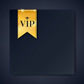 VIP club party premium invitation card poster flyer. Black and golden design template with copy space. Golden ribbons with round stamp label decorative vector background.