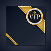 VIP club party premium invitation card poster flyer. Black and golden design template. Golden ribbons with round stamp label decorative vector background.