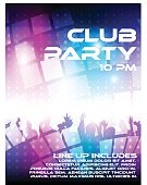Vibrant and energetic flyer for a night club party.