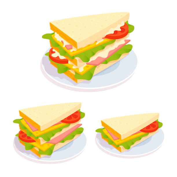 Club sandwich on a plate. Healthy snack, breakfast. Bread, cheese, lettuce, ham, tomato slice, sauce. Tasteful meal. Vector cartoon illustration. bread clipart stock illustrations