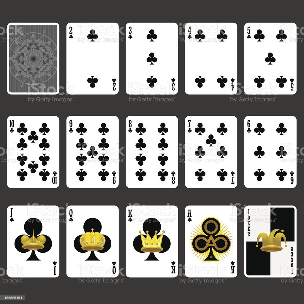 Club Suit Playing Cards Full Set vector art illustration