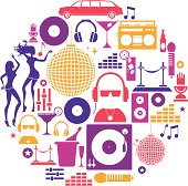 A set of icons depicting clubbing and music themes. See below for more leisure images.