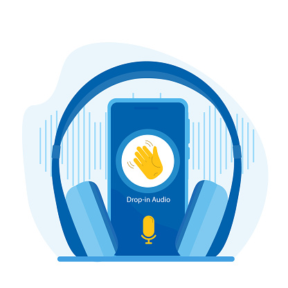 Clubhouse drop-in audio. A smartphone with a waving hand and a microphone with wireless headphones. The app trend of 2021.
