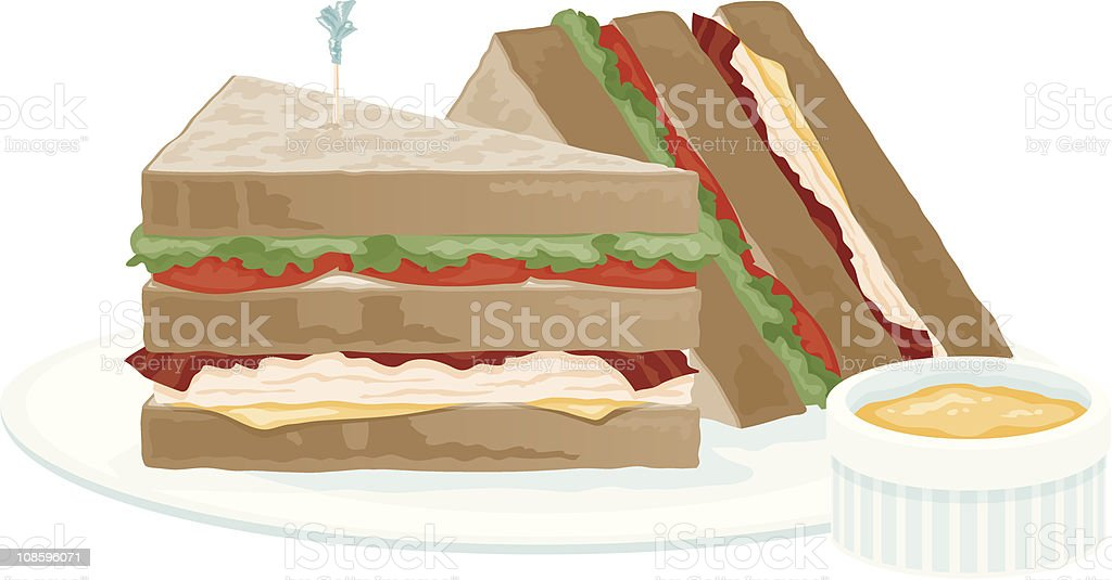 Clubhouse Sandwich royalty-free stock vector art