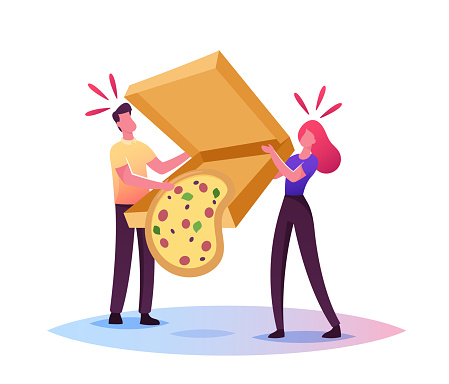Clumsiness, Sods Law Concept. Tiny Male Female Characters Drop Huge Takeaway Box with Delivered Pizza Fall Down on Floor