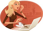 Illustration of a woman spilling coffee on the laptop.