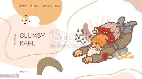 Clumsy Karl web site header or banner vector template. Modern abstract organic shapes, gnome illustration and text samples.