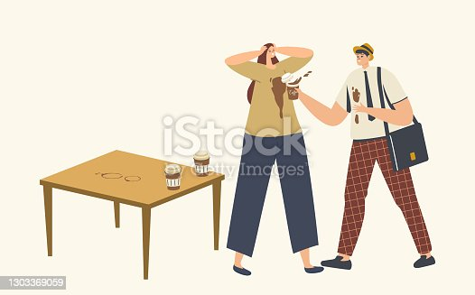 Clumsy Man Spill Coffee on Woman T-shirt Put Stains on Clothes. Stressful Situation, Clumsiness, Accident in Office