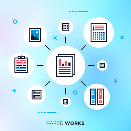 Clutter & Organize Paperwork Outline Vector Graphic Concept