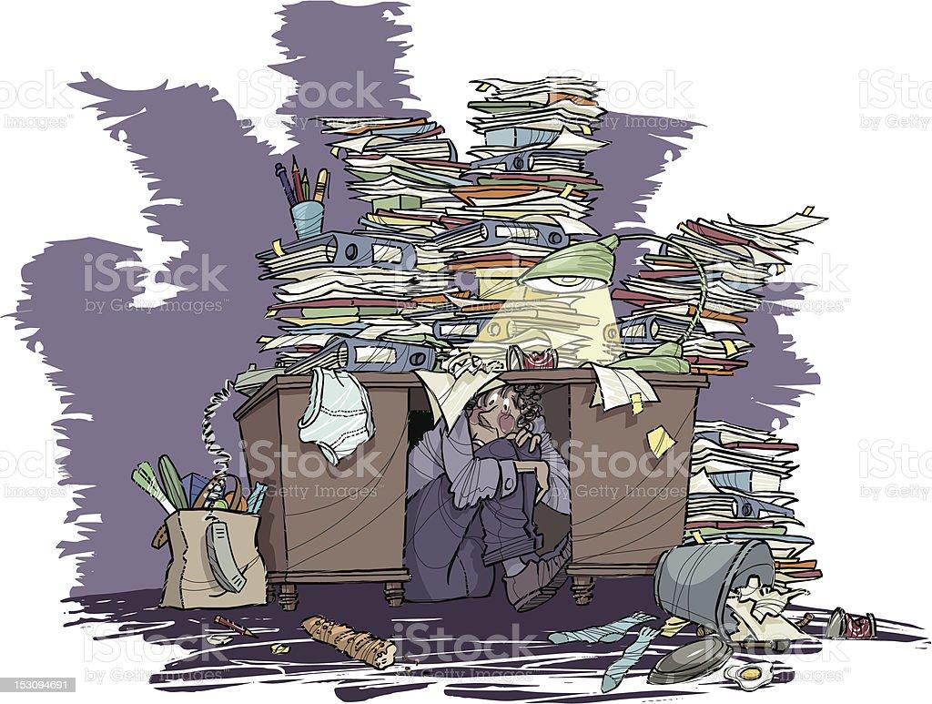 Cluttered Desk | Office Jungle vector art illustration