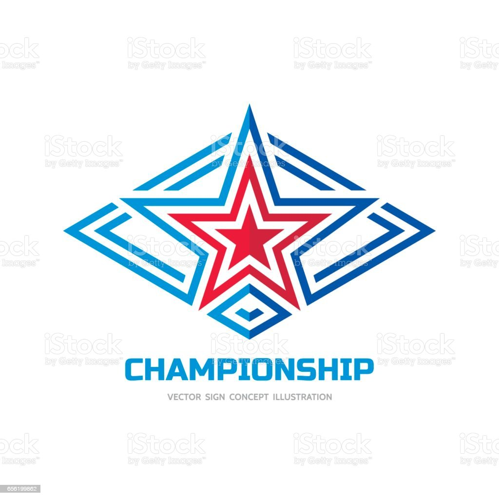 Cmapionship - vector sign template concept illustration. Star sign in rhombus shape. Abstract symbol. Design element. vector art illustration