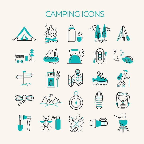Cmping and tourism icons vector art illustration