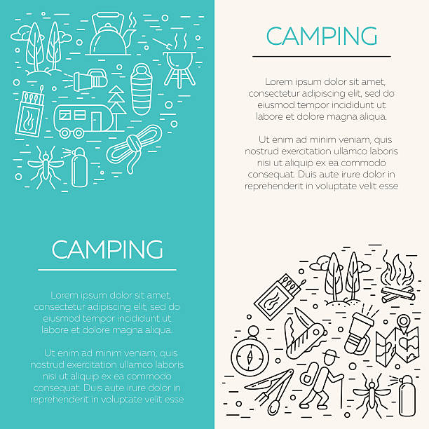 Cmping and tourism icons Collection of camping outline icons with place for text. Tourism and hiking objects set: tent, bonfire, folding knife, matches, map, kettle, mosquito repellent, flashlight, compass switchblade stock illustrations
