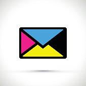 A cmyk envelope on white background