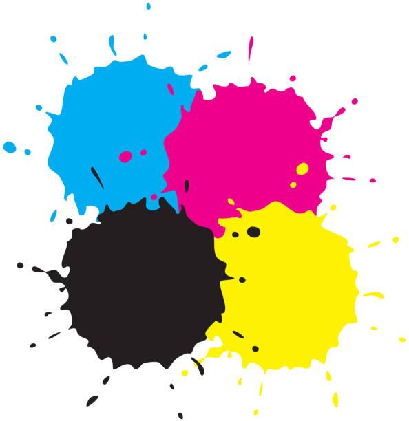 illustrazioni stock, clip art, cartoni animati e icone di tendenza di cmyk grunge spot. - cmyk