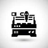 Cnc milling machine icon isolated on grey. This illustration - EPS10 vector file, contain transparent elements.