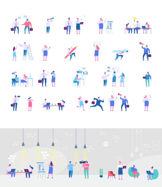 ilustrações de stock, clip art, desenhos animados e ícones de co working people flat vector set. business meeting. teamwork. business people, freelancers working together. office life. concept design for web. - coworking