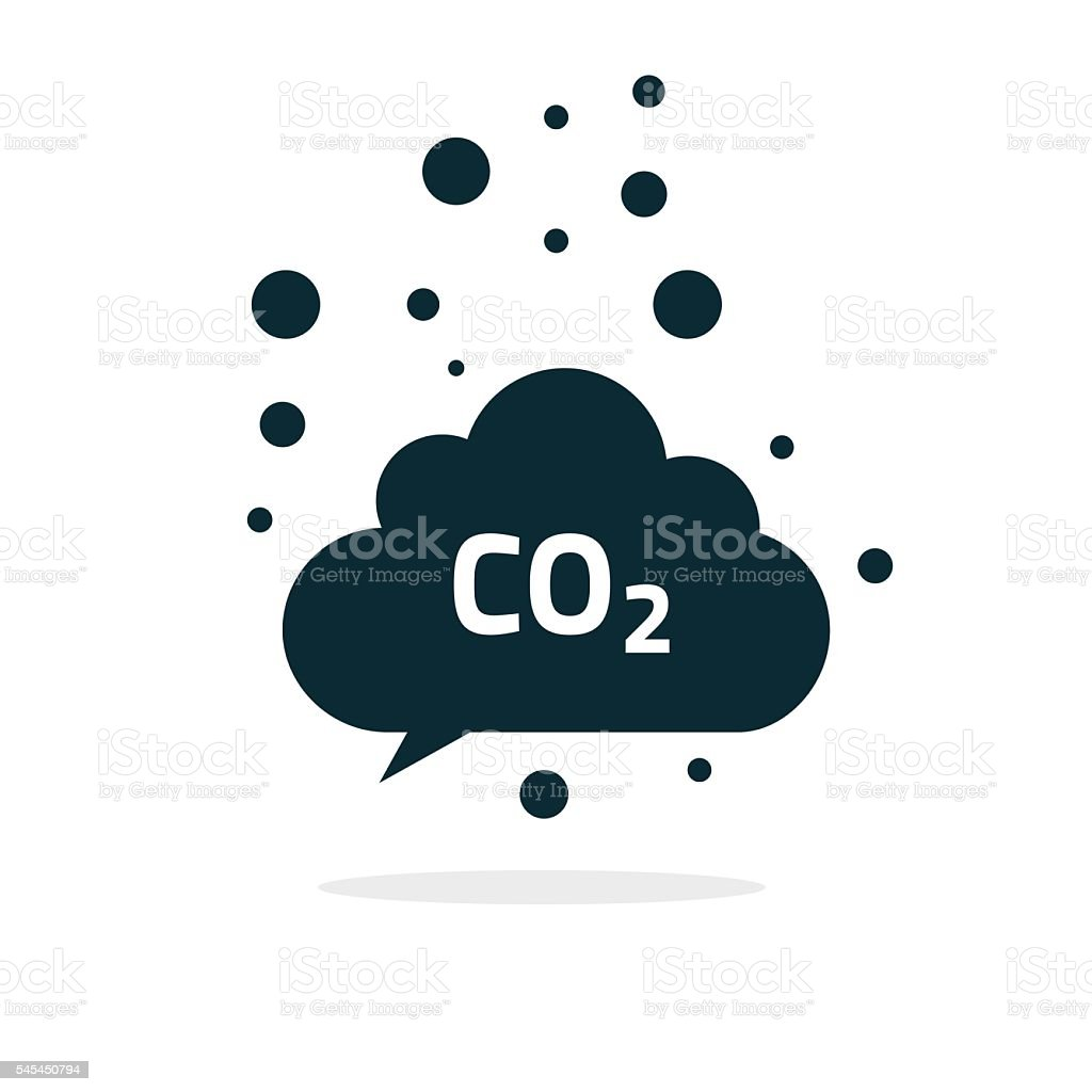 co2 emissions cloud icon vector, carbon dioxide emits symbol smog vector art illustration
