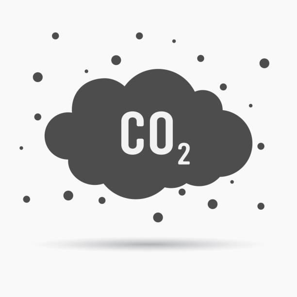 bildbanksillustrationer, clip art samt tecknat material och ikoner med co2-utsläpp icon cloud vector platt, koldioxid avger symbol, smog förorening koncept, rök förorening skador, förorening bubblor, sopor etikett - co2