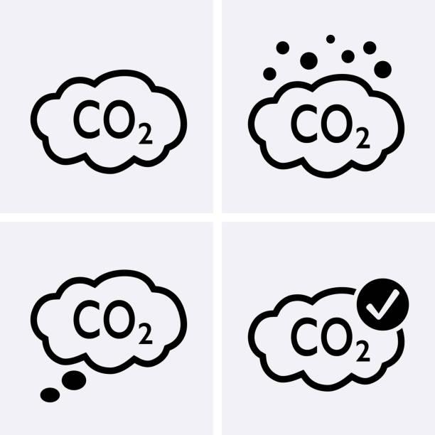 bildbanksillustrationer, clip art samt tecknat material och ikoner med co2-utsläpp ikoner - co2