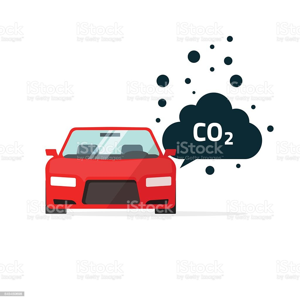 co2 emissions vector illustration, car carbon dioxide emits symbol – Vektorgrafik