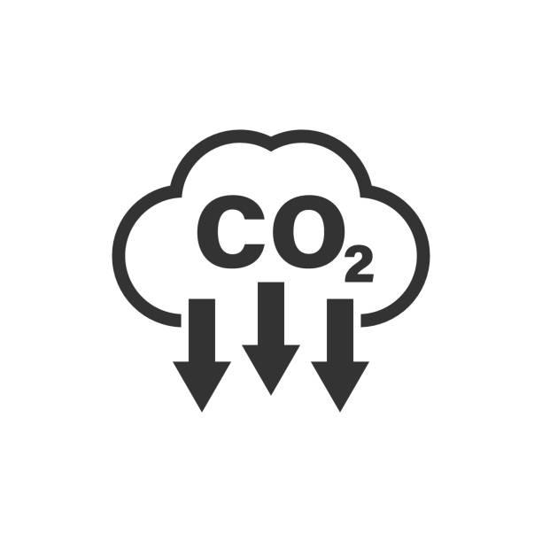 stockillustraties, clipart, cartoons en iconen met co2-icoon in platte stijl. emissie vector illustratie op witte geïsoleerde achtergrond. gasreductie bedrijfsconcept. - vermindering