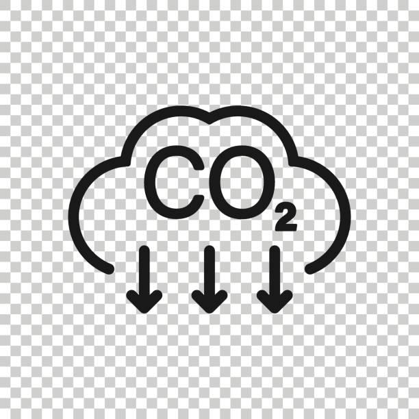 stockillustraties, clipart, cartoons en iconen met co2-pictogram in platte stijl. de vectorillustratie van de emissie op witte geïsoleerde achtergrond. gasreductie business concept. - vermindering