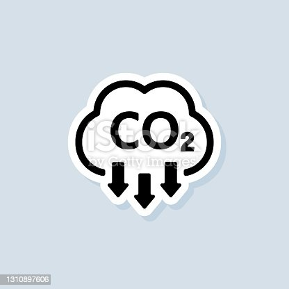 istock Co2 sticker. Carbon Dioxide Emissions icon or logo. co2 emissions. Vector on isolated white background. EPS 10 1310897606