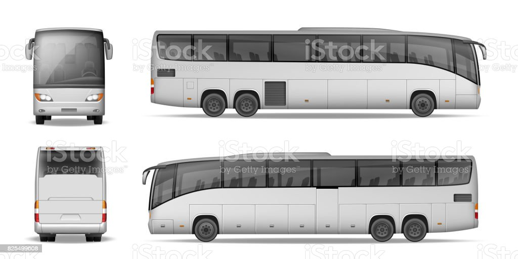 Coach bus isolated on white background. Travel Passenger Bus for advertising and your design. Realistic coach mockup Side, Front and Back view. Vector illustration - illustrazione arte vettoriale
