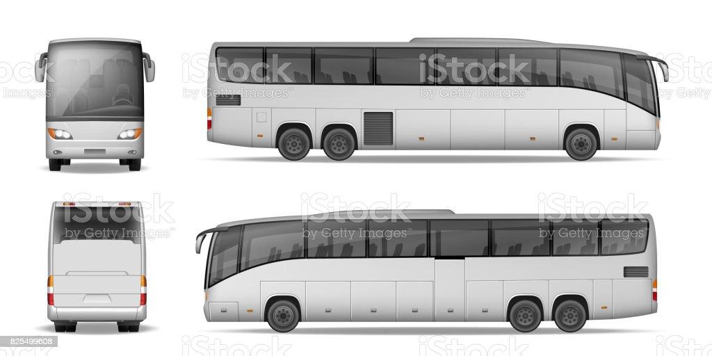 Autobús del coche aislado sobre fondo blanco. Viajes autobús de pasajeros para su diseño y publicidad. Maqueta coche realista lado, vista de frente y hacia atrás. Ilustración de vector - ilustración de arte vectorial