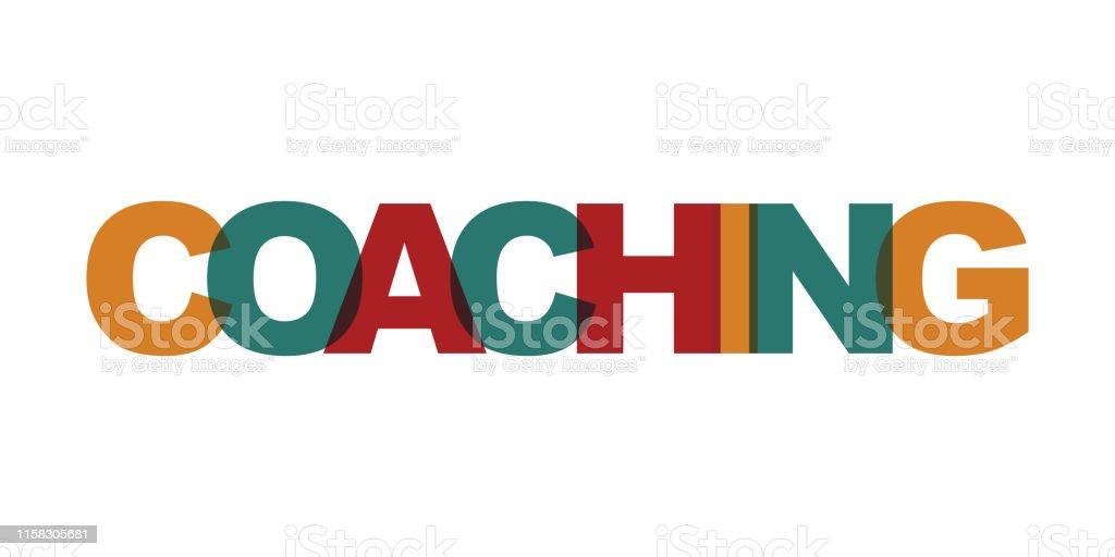 Coaching business card text. Modern lettering poster. Color word art...