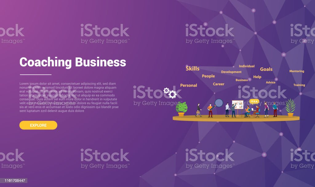 Coaching Concept For Website Template Landing Homepage Banner With Modern Purple Violet Background Vector Stock Illustration Download Image Now Istock