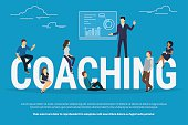 Coaching concept illustration of business people attending the professional training with professional high skilled coach. Flat design of guys and young women sitting on the big letters