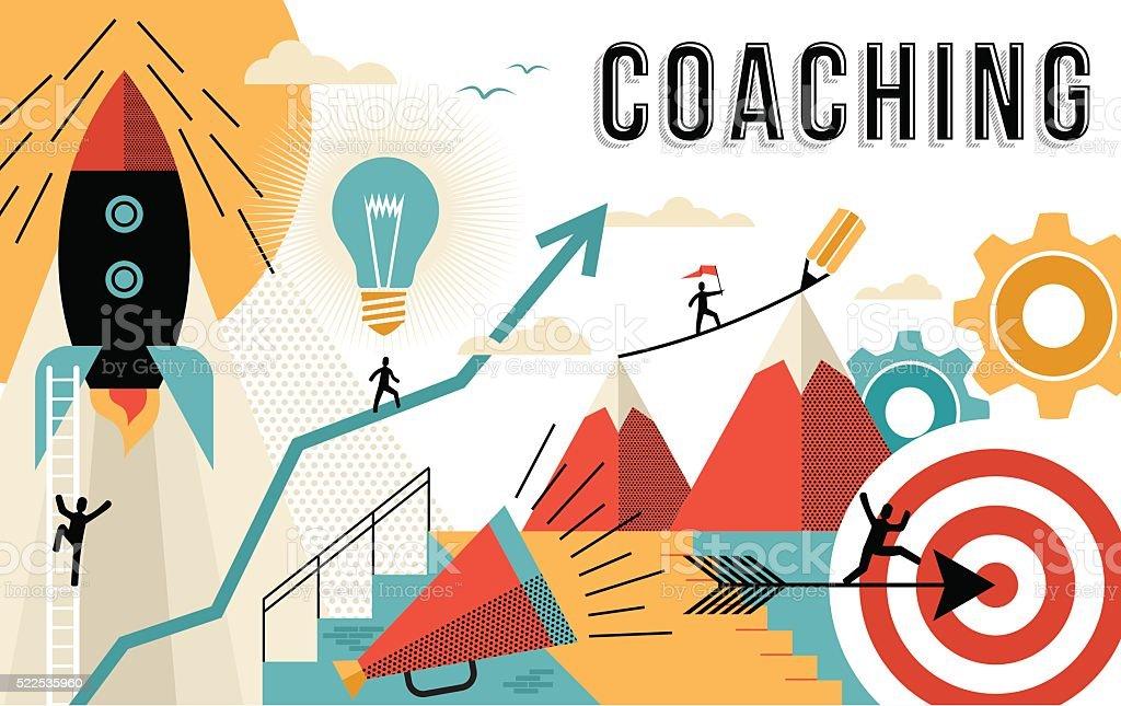 Coaching concept line art colorful modern design vector art illustration