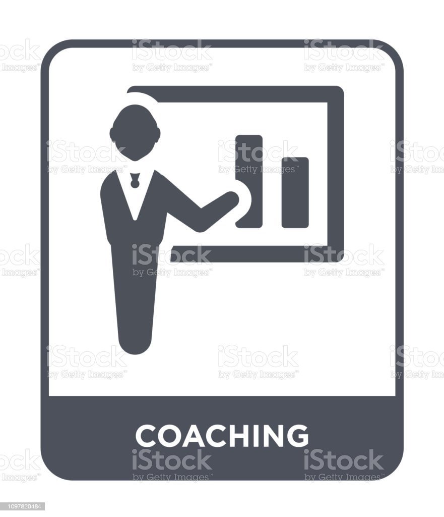 coaching icon vector on white background, coaching trendy filled...