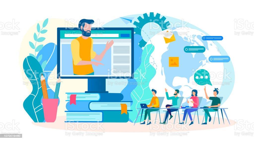 Coaching online seminarier, webinars, grupplektioner, online utbildningar. - Royaltyfri Använda en dator vektorgrafik