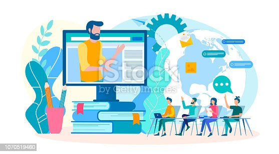 Coaching online trainings, group lessons, webinars, online seminars. Training courses with a teacher on the Internet. Vector illustration.