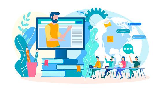 Coaching Online Seminarier Webinars Grupplektioner Online Utbildningar-vektorgrafik och fler bilder på Använda en dator