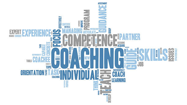 Coaching - teaching Word Clouds Set of coaching - teaching Word Clouds - Isolated on White background single word stock illustrations