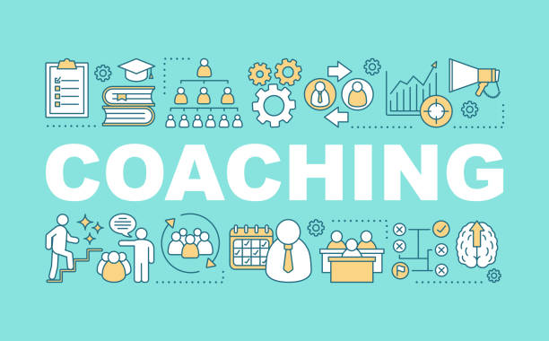 Coaching word concepts banner Coaching word concepts banner. Interactive training. Corporate management. Business strategy coach stock illustrations