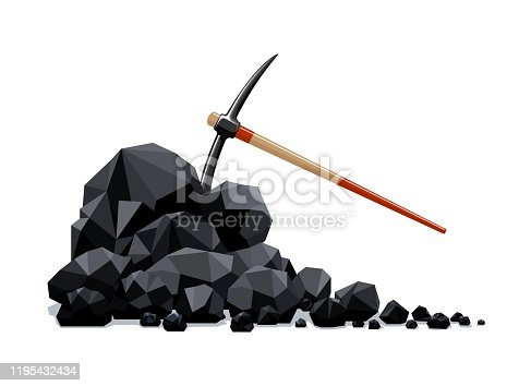 Coal lumps and pickaxe. Firewood charcoal fossil mineral fuels pile, graphite material with mining tool vector illustration