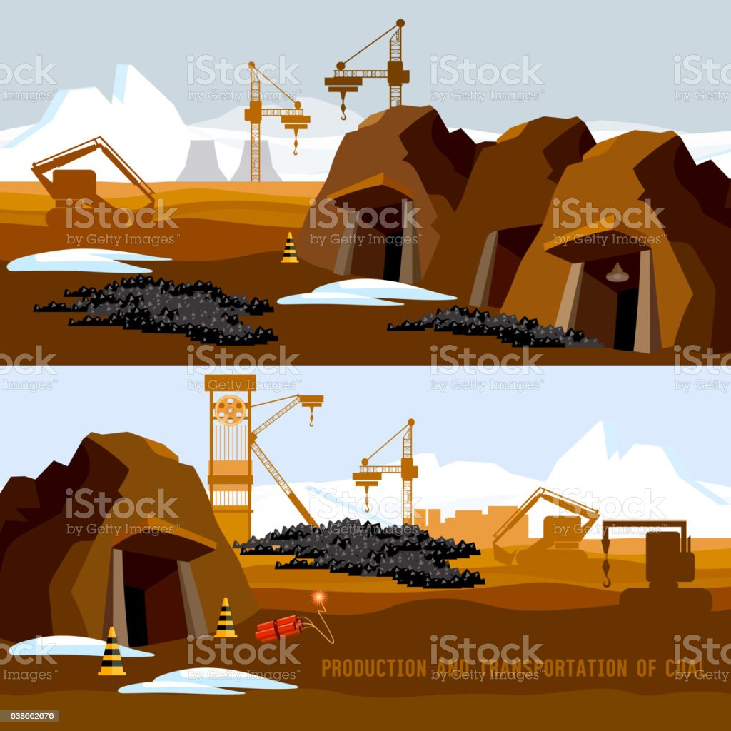 Coal mine banner, process of coal mining vector art illustration