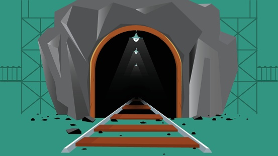 Coal mine entrance with rails in the rock